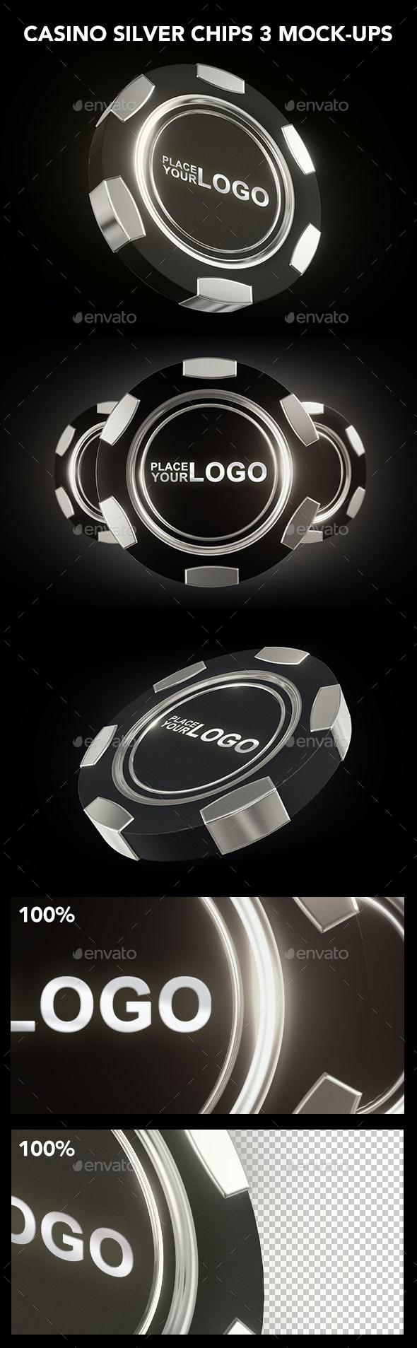 Casino Silver Chip Mockup - Product Mock-Ups Graphics