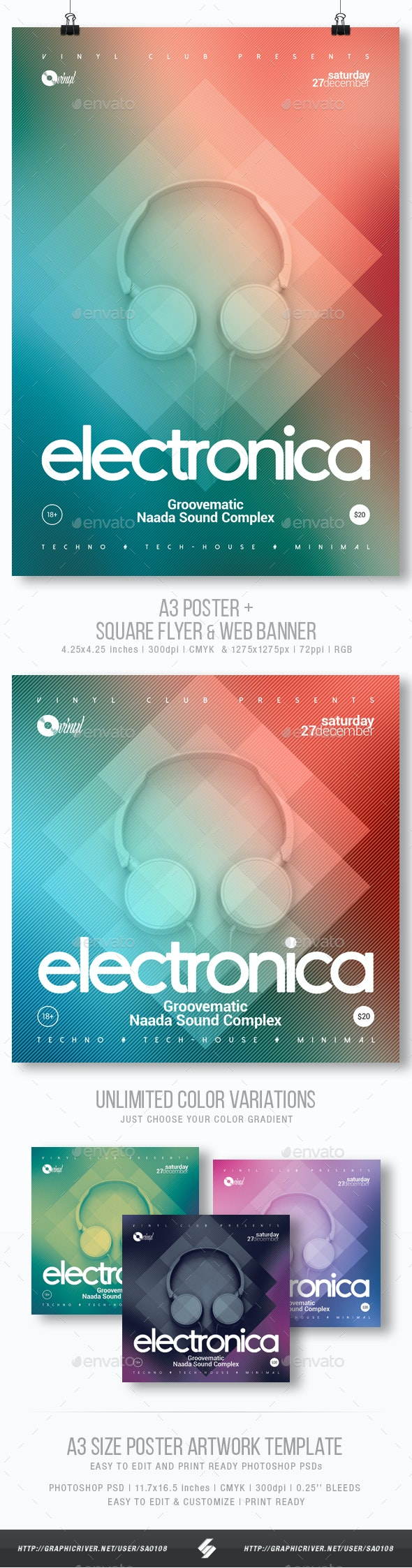 Electronica - Club Party Flyer / Poster Template A3 - Clubs & Parties Events
