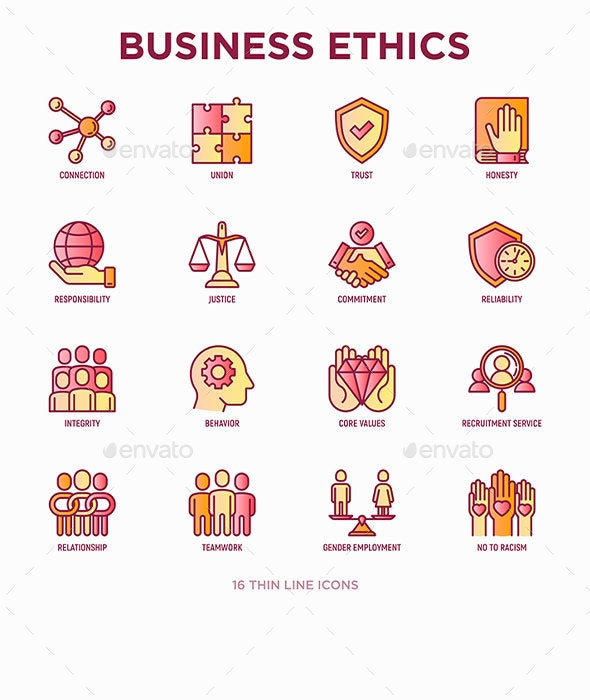 Business Ethics | 16 Thin Line Icons Set - Business Icons