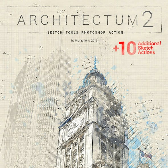 Architecture Sketch Tools - Architectum 2 - Photoshop Action
