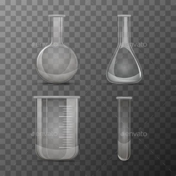 Different Transparent Vials and Flasks - Miscellaneous Vectors