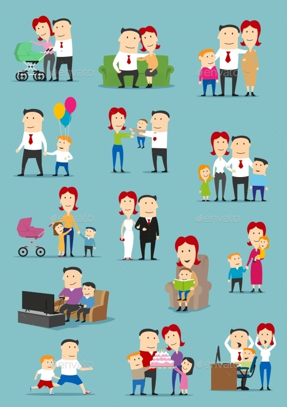 Family People Cartoon Set - People Characters