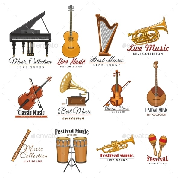 Musical Instrument Symbol Set for Music Design - Miscellaneous Vectors