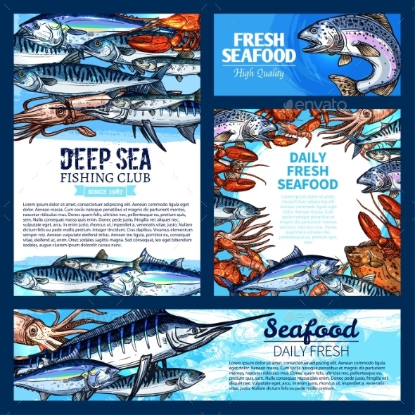 Fish and Seafood - Animals Characters