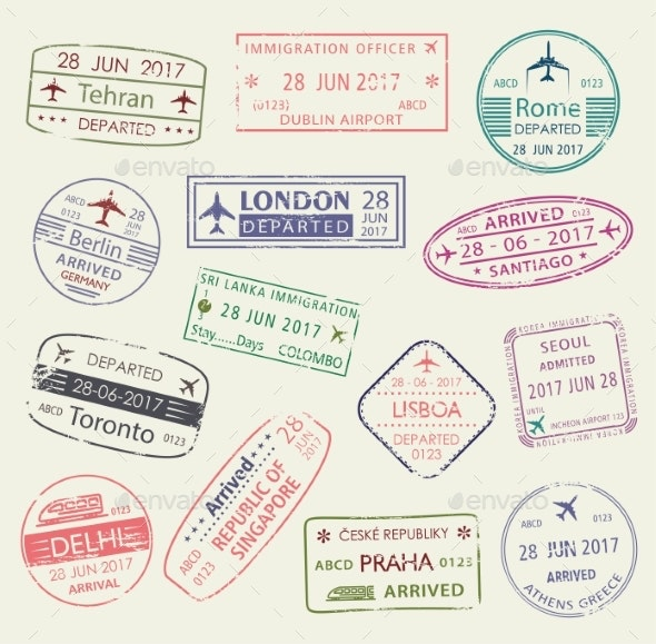 Passport Stamp of Travel Visa Isolated Set Design - Travel Conceptual
