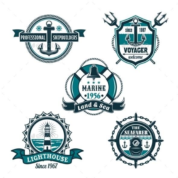 Nautical Retro Badge Set - Decorative Symbols Decorative