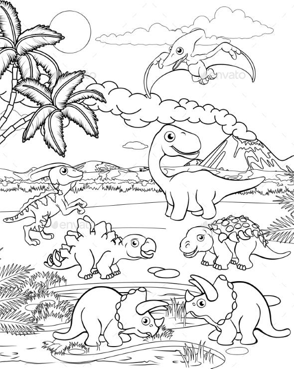Dinosaur Cartoon Prehistoric Landscape Scene - Animals Characters