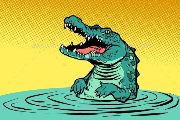 Green Crocodile Character - Animals Characters