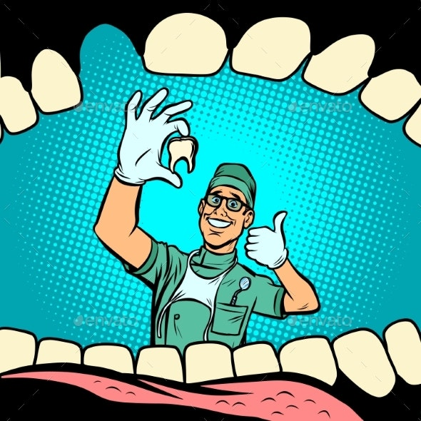Mouth Without Tooth Joyful Dentist Male Doctor - Health/Medicine Conceptual