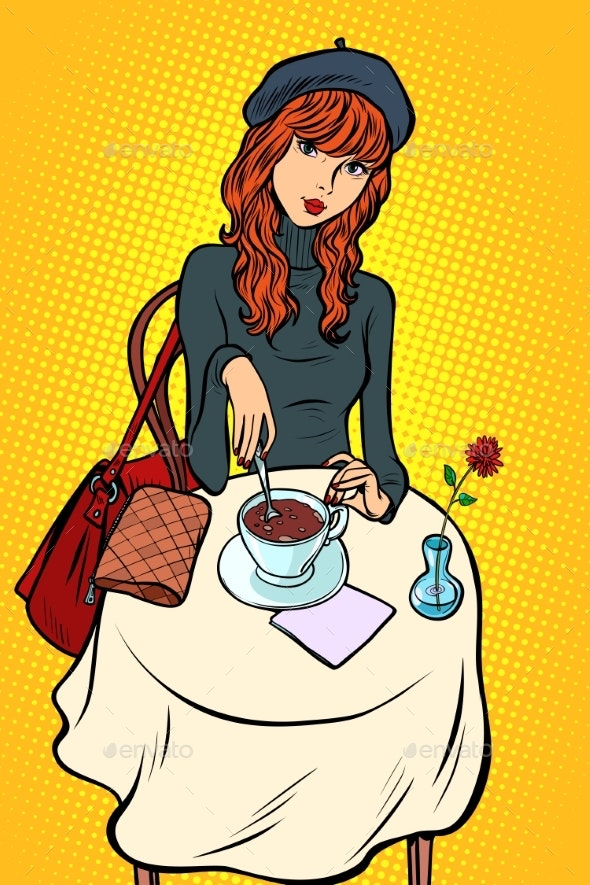 Red Haired Girl in a Cafe - People Characters