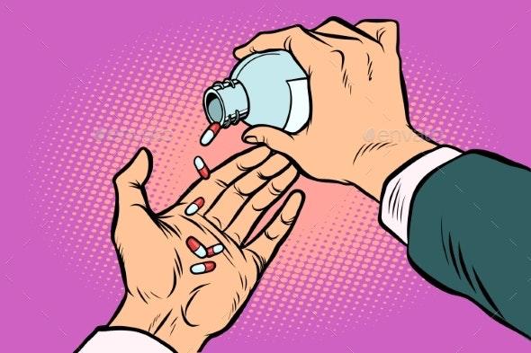 Man Hand Pours Out Pills - Health/Medicine Conceptual