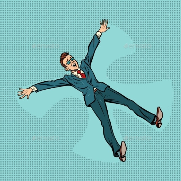 Happy Businessman Making Snow Angel - People Characters