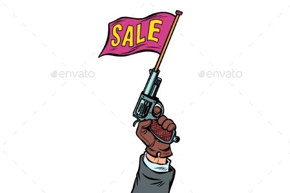 Start of Sale Starter Pistol Isolated on White - Miscellaneous Vectors