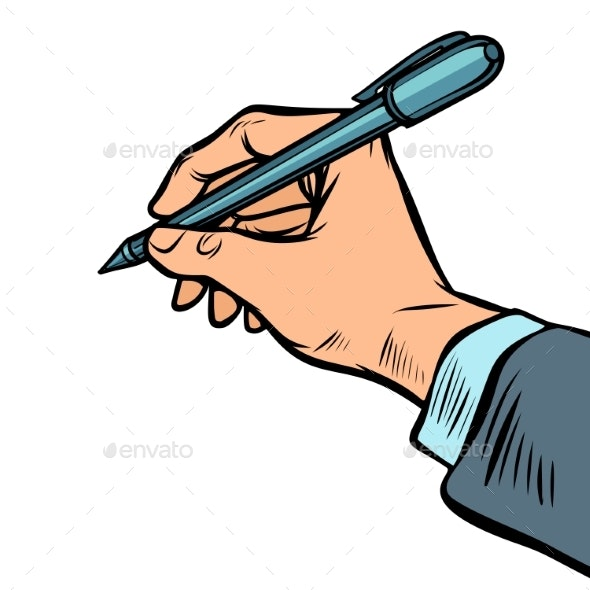 Man Hand with a Pen - Miscellaneous Vectors
