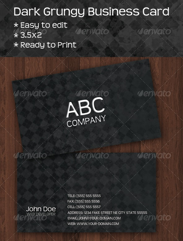 Dark Grungy Business Card - Grunge Business Cards