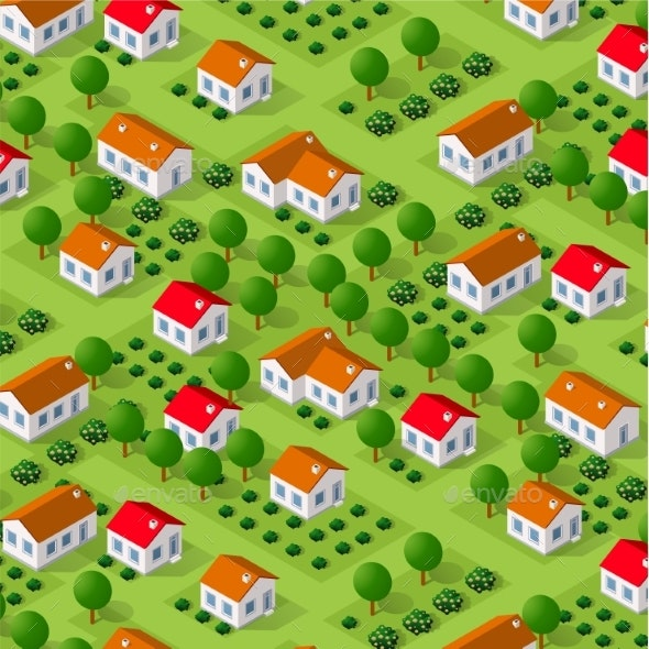Isometric Vector Nature Rural - Buildings Objects