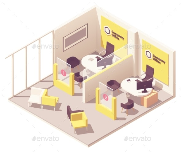 Vector Isometric Customer Service Department - Man-made Objects Objects