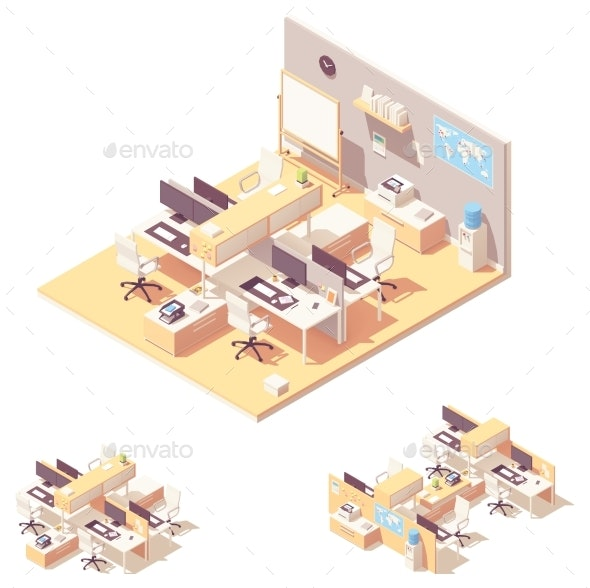 Vector Isometric Office with Cubicle - Buildings Objects