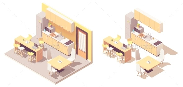 Vector Isometric Kitchen - Man-made Objects Objects