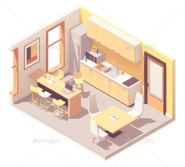 Vector Isometric Office Break Room - Man-made Objects Objects