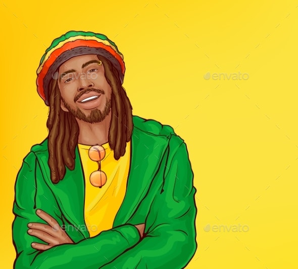 Vector Pop Art Rastafarian with Dreadlocks - People Characters