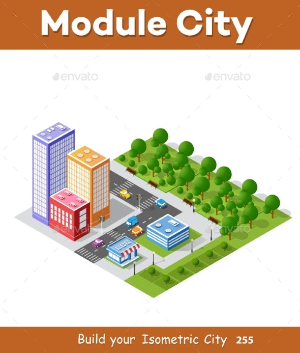 Colorful Isometric City - Buildings Objects