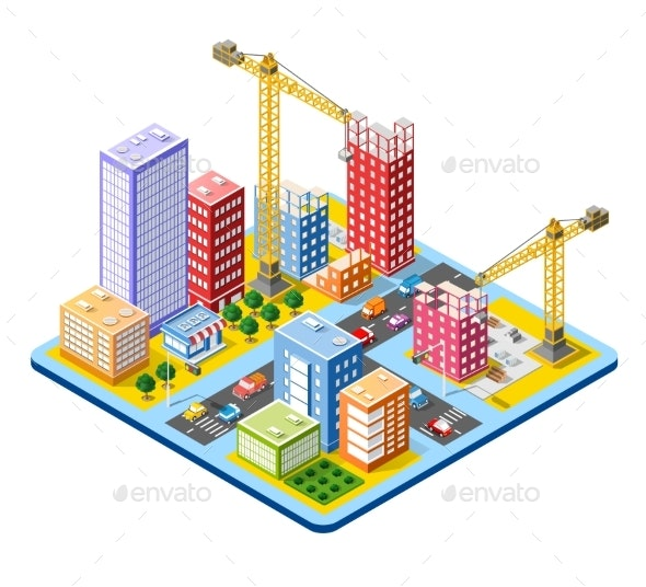 Module Isometric City of Houses - Industries Business