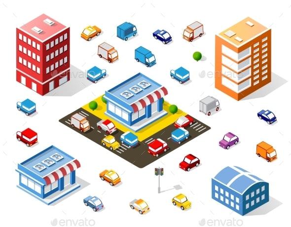 Isometric Colorful Shop - Miscellaneous Vectors