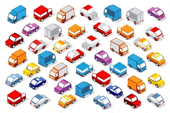 Colorful Isometric Set of Cars - Man-made Objects Objects