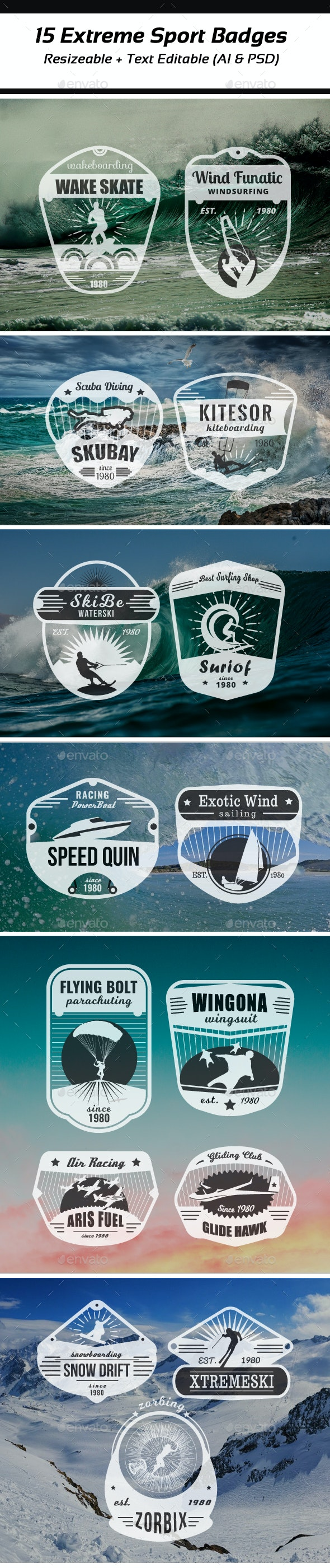 Extreme Sports Vintage Logo and Badges - Badges & Stickers Web Elements