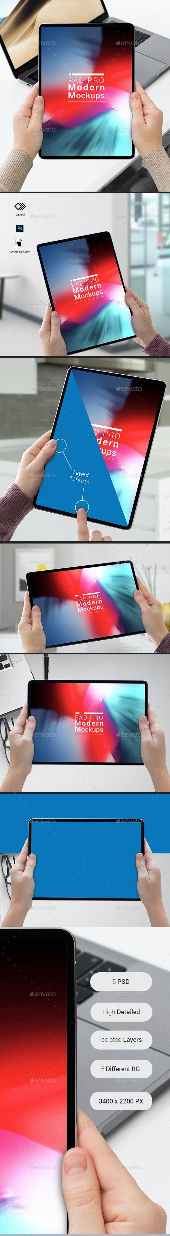 Pad Pro Modern Mockups - Mobile Displays