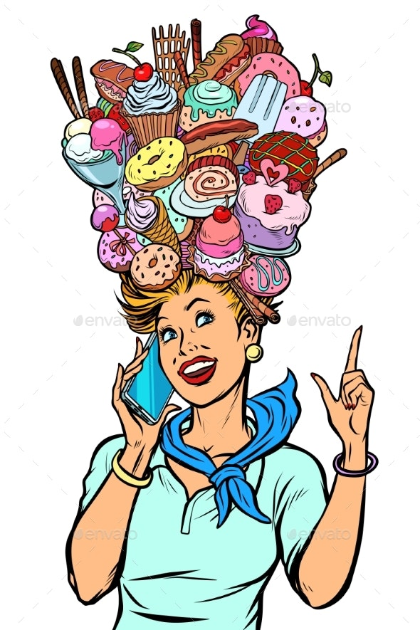 Stewardess Woman Dreams of Food and Sweets - Food Objects