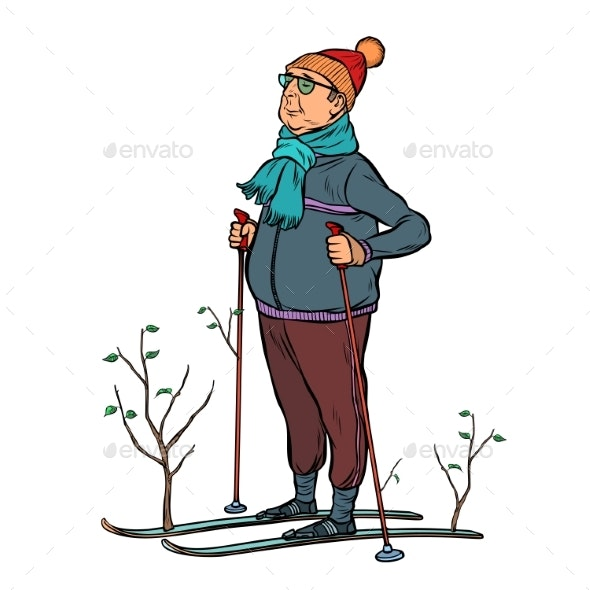 Skier Male in a Forest of Young Trees - People Characters
