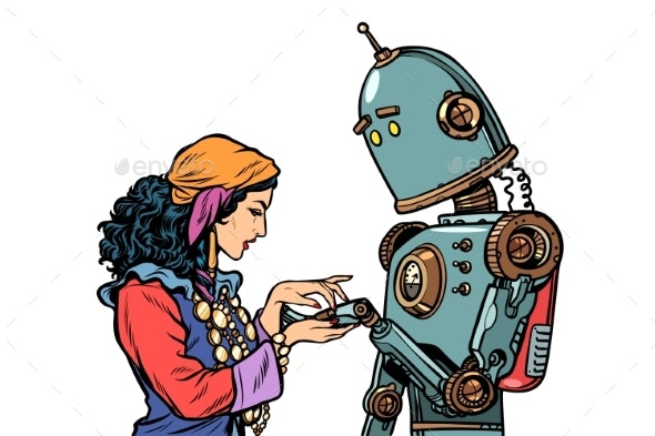 Gypsy Telling Fortunes by the Hand of a Robot - Religion Conceptual