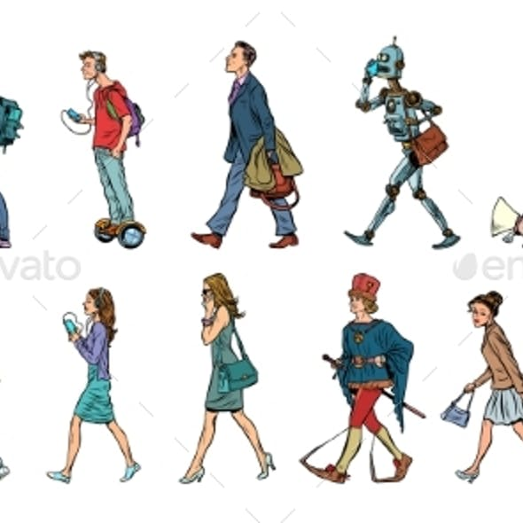 Set Collection of Pedestrians People Walking