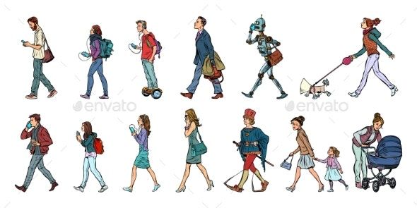 Set Collection of Pedestrians People Walking - People Characters
