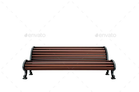 Park Bench Isolated on White Background - Man-made Objects Objects