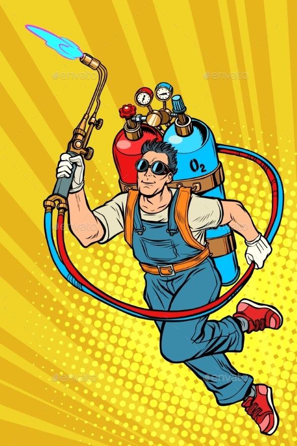 Welder Professional Worker Superhero with Gas - Industries Business