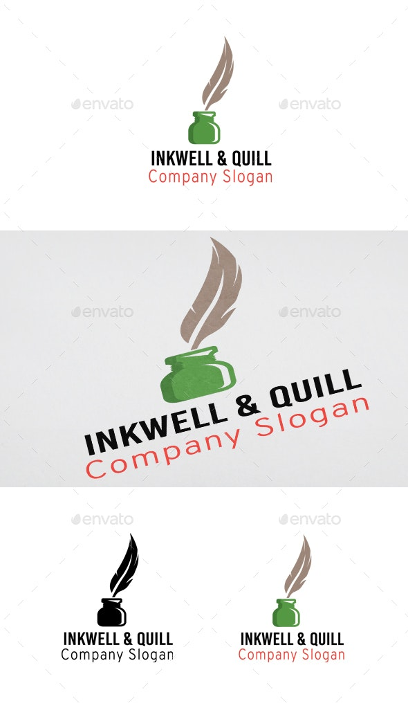 Writing Quill Feather Pen and Ink Well logo plume - Objects Logo Templates