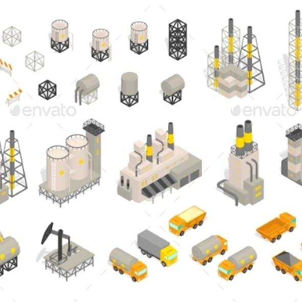 Set Industrial Factories Plant Building