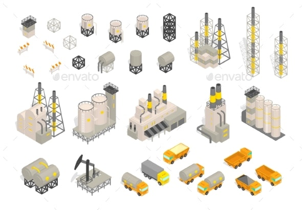 Set Industrial Factories Plant Building - Industries Business