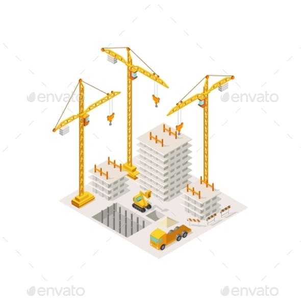Construction Building a House Isometric Lifting