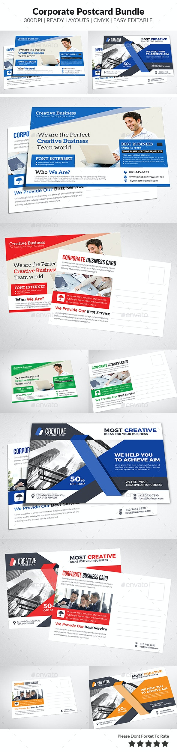 Business Postcard Bundle Templates - Cards & Invites Print Templates
