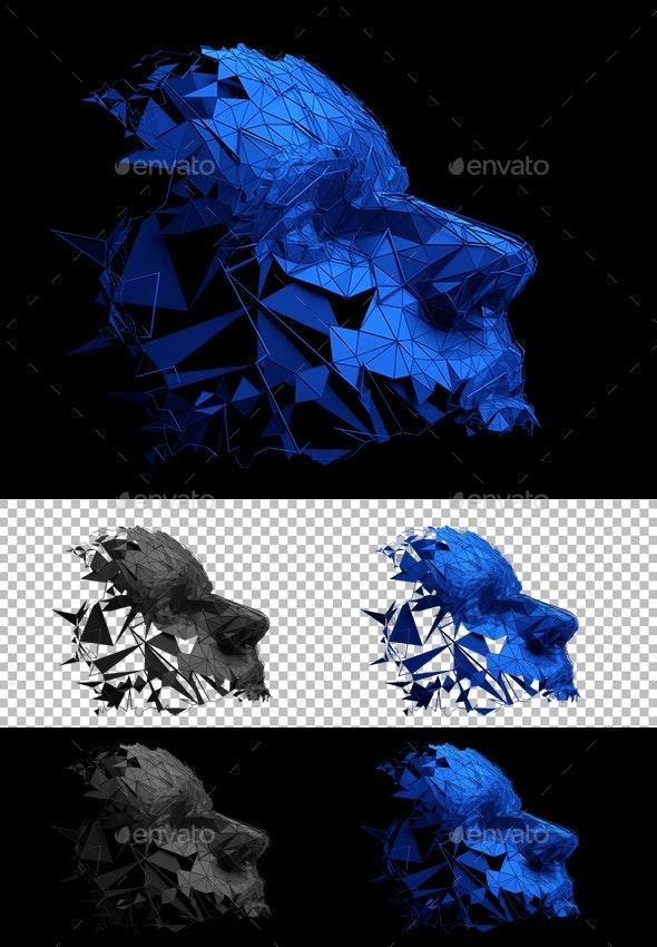 Polygonal Human Face - Technology 3D Renders