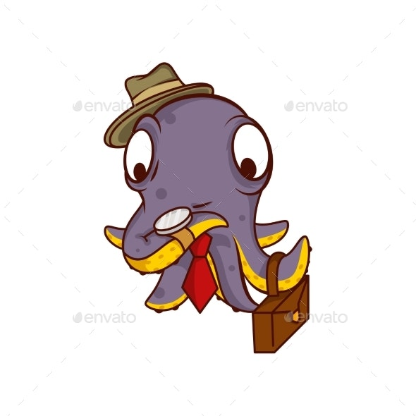 Purple Octopus Businessman with Suitcase - Animals Characters