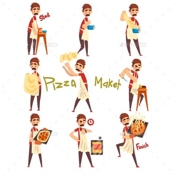 Stages of Preparing Pizza Set