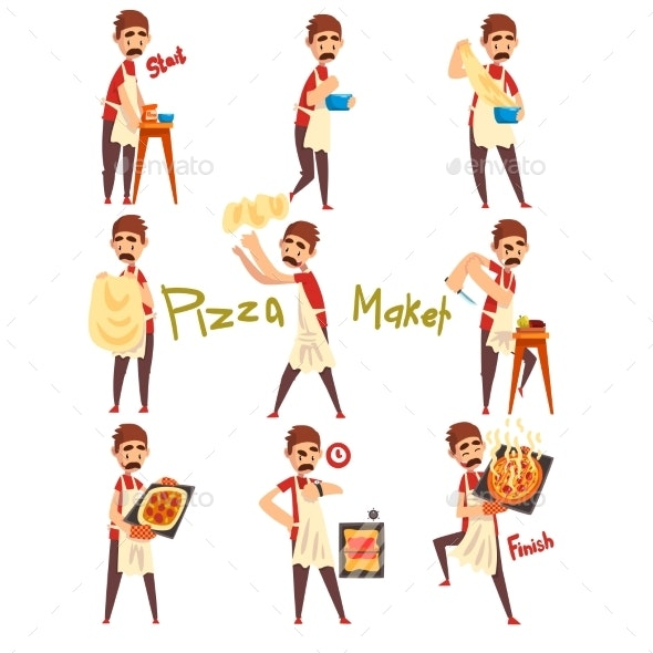 Stages of Preparing Pizza Set - Food Objects