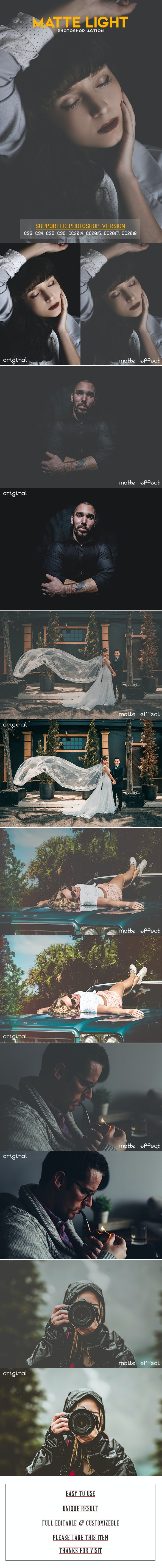 Matte Light Photoshop Action - Photo Effects Actions