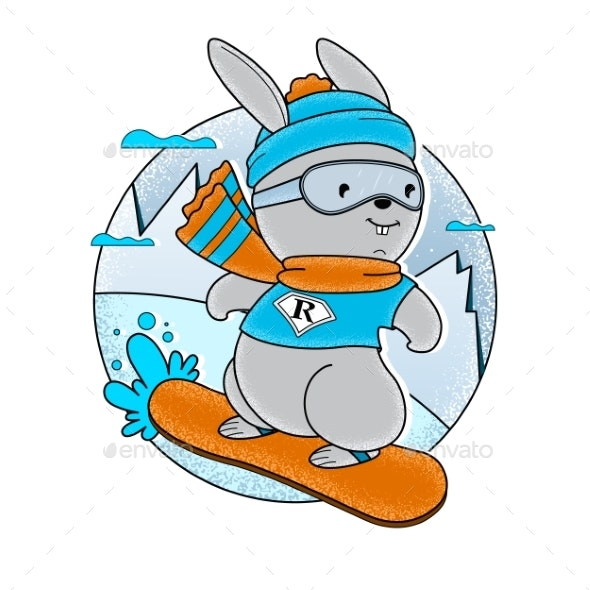 Sketch Bunny with Snowboard - Animals Characters