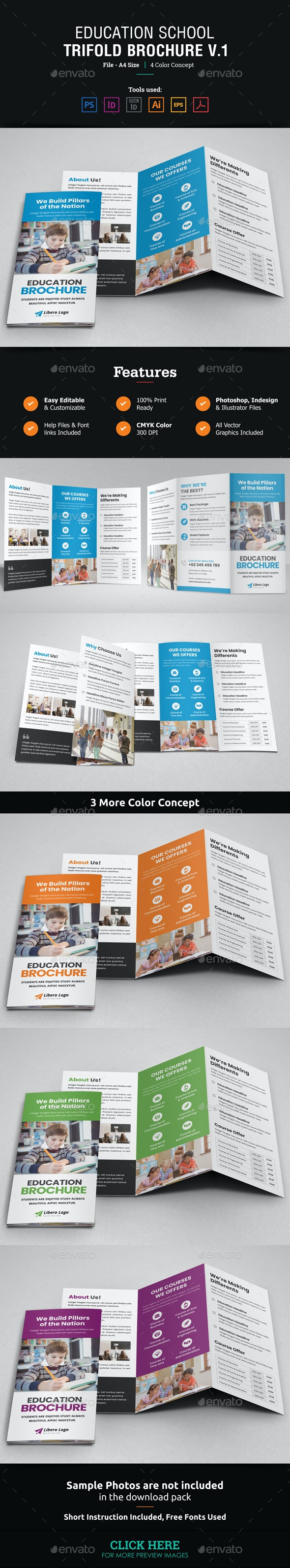 Education School Trifold Brochure v1 - Corporate Brochures